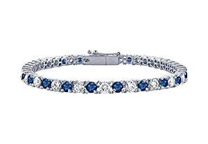 Sapphire and Diamond Tennis Bracelet : Platinum - 2.00 CT TGW