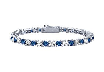 Sapphire and Diamond Tennis Bracelet Platinum - 1.00 CT TGW