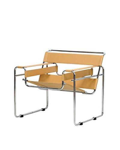Baxton Studio Jericho Leather Mid-Century Modern Accent Chair, Tan
