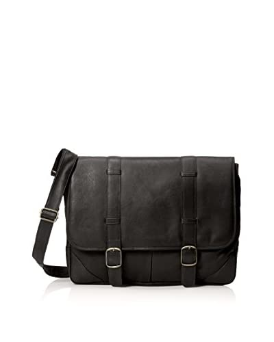 David King Men's Double Strap Messenger, Black
