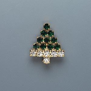 Beautiful and Elegant Christmas Tree Pin, Emerald- And Diamond-look Rhinestone Brooch