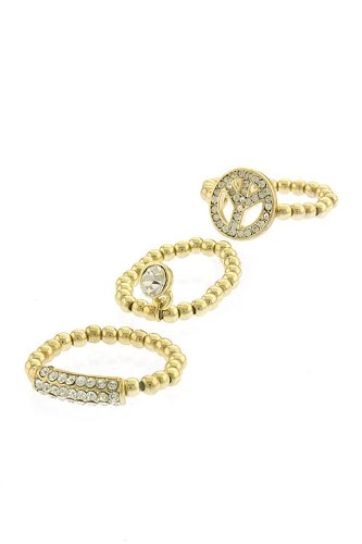 Trendy Fashion Jewelry Name Tag And Peace Ring Set By Fashion Destination | (Gold)