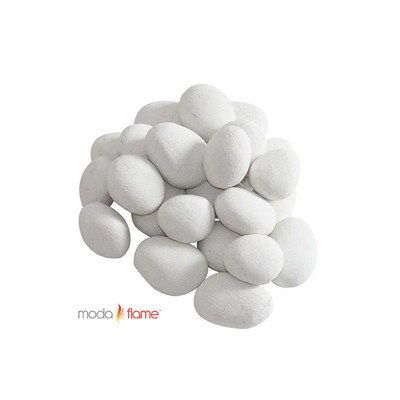 Moda Flame White Fireplace Pebble Set (White Gas Fireplace Ventless compare prices)