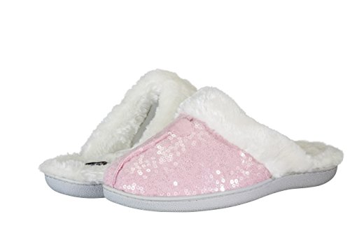 Cover Girl Women's Plush Fur Lightweight Slip-on Super Comfort Slippers (Medium, Pink Sequins)