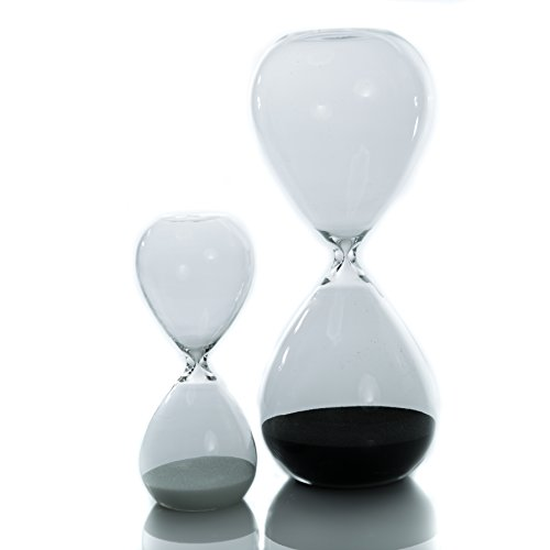 Hourglass Sand Timer Set For Time Management - A 30 Minute, Deep Black & A 5 Minute, Snow White Timer - Durable Glass Construction - Elegant, Modern Design - The Ideal Work & Play Time Combination (Hourglass Timers compare prices)