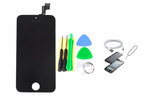 Black Full Lcd Display Touch Screen Digitizer Assembly Protector +Check Card Pin + Usb Cable For Iphone 5S+Tools