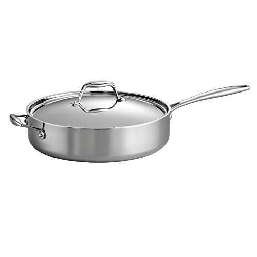 Tramontina 80116/018DS Gourmet 18/10 Stainless Steel Induction-Ready Tri-Ply Clad Covered Deep Saute Pan, 5-Quart, Stainless