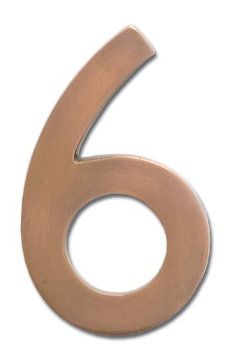 Architectural Mailboxes 3585AC-6  Brass 5-Inch Floating House Number 6, Antique Copper (House Numbers Copper compare prices)