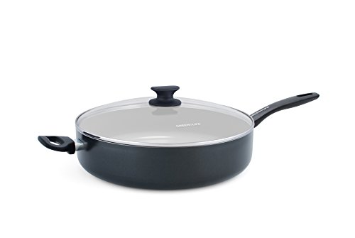 GreenLife Everyday Value 5QT Ceramic Non-Stick Jumbo Sauté Pan with Handle Helper, Black