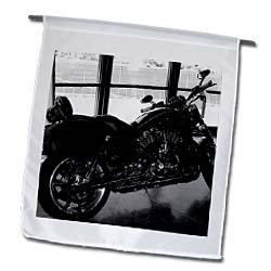 3dRose fl_54280_1 A Black and White of a Harley-Davidson Motorcycle in a Window at a Showroom Garden Flag, 12 by 18-Inch