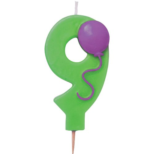 """Number """"9"""" Pick Candle with Balloon Party Accessory - 1"""
