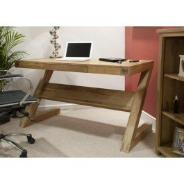 Opus Oak Z Desk with Drawer and Shelf