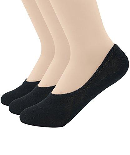 Zando Women's Casual Anti Slip Low Cut Solid Color Flat Ankle Line Socks 3 Pairs Black S Retro Cheer Shorts