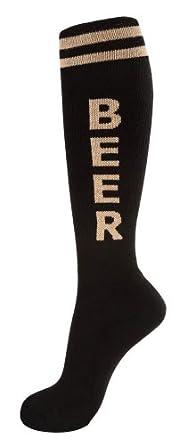 Beer Unisex Knee High Tube Socks in Various Colors (Black and Tan)