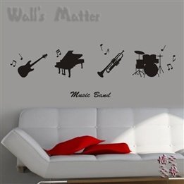 Wall Stickers Self-Adhesive Wallpaper Musical Instruments Guitar Trumpet Piano Line Music School Living Room Bedroom Decoration Special front-702934