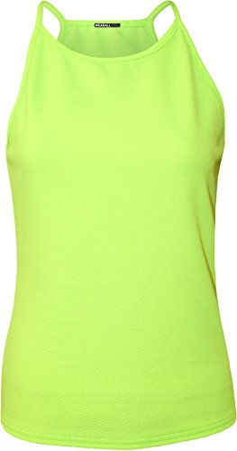 Wearall Women'S Plain Strappy Sleeveless Scoop Neck Stretch Vest Top - Neon Green - Us 4-6 (Uk 8-10)