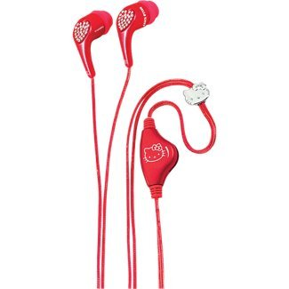 Spectra Kt2081R Hello Kitty Jeweled Earbud Headphones - Red