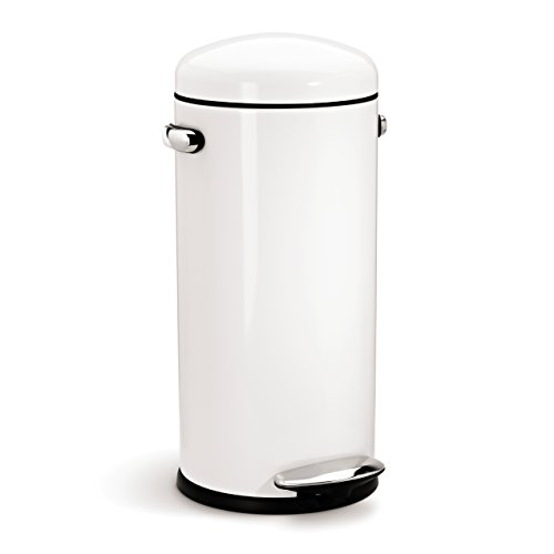simplehuman Round Retro Step Trash Can, White Steel, 30 L / 8 Gal