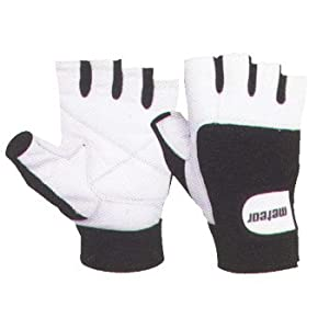 Leather Weight Lifting Gloves White Large