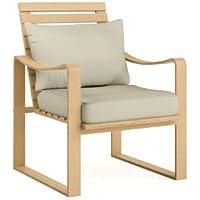 CorLiving Aquios Bentwood Contemporary Armchair (Warm White)