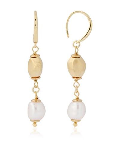 Perlaviva Pendientes Cultured Pearl Baroque Nugget Drop Amarillo / Blanco