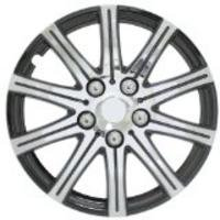 Stick Wheel Cover - Black Polish - Silver - 14 Inch
