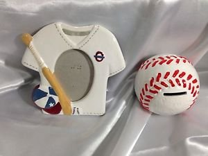 Baseball Ceramic Frame & Shaped Bank Set - 2 Piece Baseball - 1