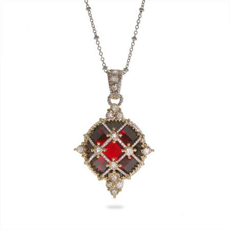 Designer Inspired Ornate Vintage Garnet CZ and Cable Pendant Length 18 inches (Lengths 16 inches 18 inches Available)