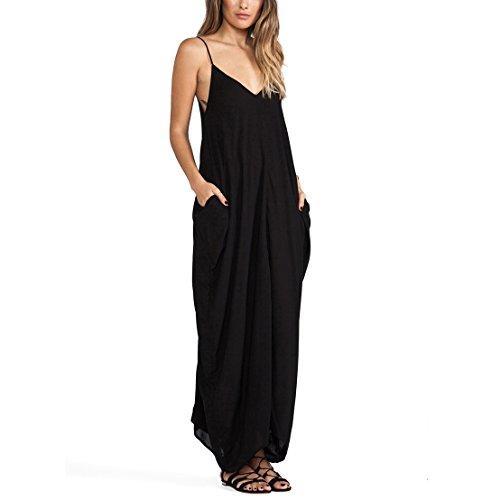 May&Maya Women'S Black V Neckline All In One Beach Maxi Long Dress (L)