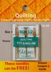 Read About Klasse' Quilting Titanium Needles 80/12