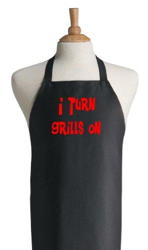 Funny BBQ Apron I Turn Grills On   Black Grilling Aprons