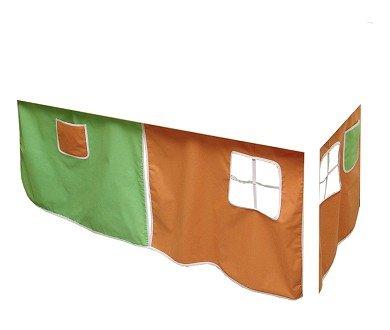 Vorhang Hochbett, Kinderbett orange-gün Stoff 3-teilig incl.Kebeklett
