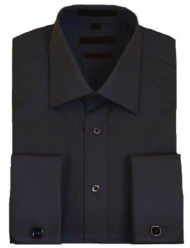 Black French Cuff Dress Shirt Cufflinks Included 17 5