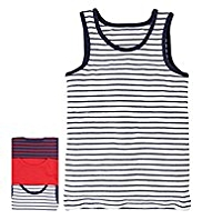 3 Pack Pure Cotton Striped Vests