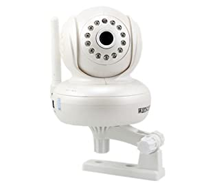 IPCC Plug and Play, Wired/Wireless IP Camera, with Pan and Tilt, 13 LED Night Vision, 2 way Audio, and Support for up to 32G TF card, Color White