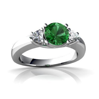 Created Emerald 14ct White Gold Ring