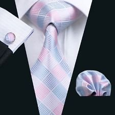 Dan Smatree Pink Tie Mens Necktie Pink Hankerchief Pocket Square Cufflinks Wedding