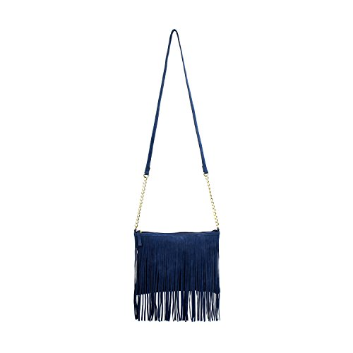 Navy Boho Fringed Crossbody Bag, Faux Suede Purse (Blue Crossbody Purse compare prices)