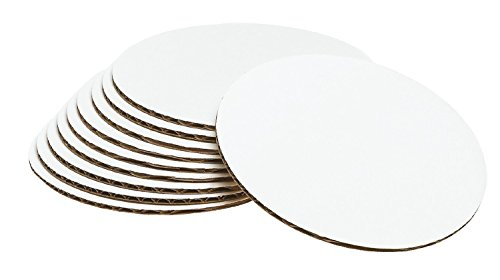 Cake Board Circle, Sturdy White Corrugated Cardboard, 100% Food Safe (8