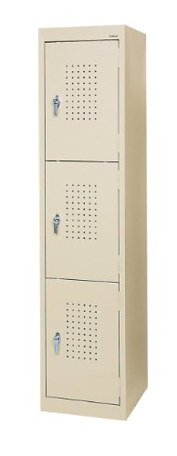 Sandusky LF33151866 22 Gauge Welded Steel Triple Door Storage Locker, 15″ Width x 66″ Height x 18″ Depth, Putty