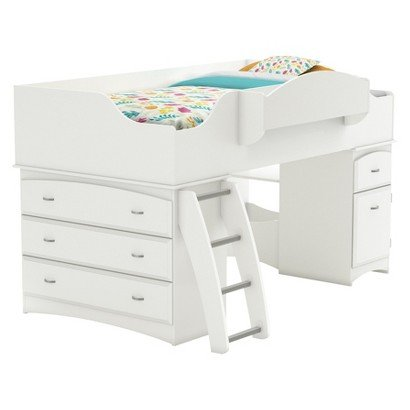 South Shore Imagine Storage Loft Kids Bed - White (Twin) - Kid Bedroom Furniture'S And Storage - Creative And Artistic Design - Built-In Toy Box, Includes Storage, Built-In Bookcase - Easily Blend To Any Room Decor And Accessories front-856383