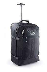 Cabin Max Lyon Flight Approved Bag Wheeled Hand Luggage - Carry on Trolley Backpack 44L 55x45x25 - Black