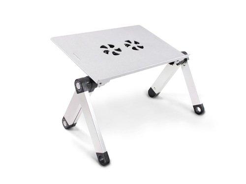 Lavolta Supporto Tavolino Pieghevole per DJ Notebook PC Portatile con Piattaforma per Mouse e Sistema di Raffreddamento - 2x Ventole - Alluminio - Argento