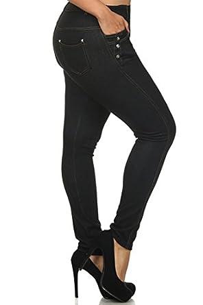 Fashion Mic Womens Ready to Wear Jean Leggings Black and Navy (XL, BLACK)