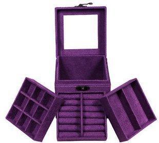 Purple Three-Layer Lint Jewelry Box / Organizer / Display Storage Case With Mirro