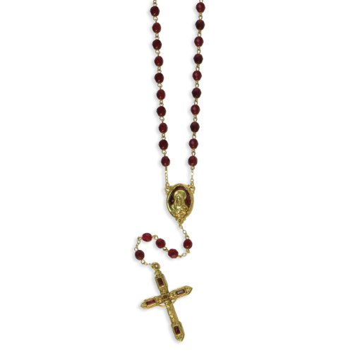 Gold-Tone Red Crystal & Enamel 26in Rosary