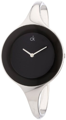 Calvin Klein Quartz, Polished Silver Bangle with Black Mirror Dial - Women's Watch K2823130