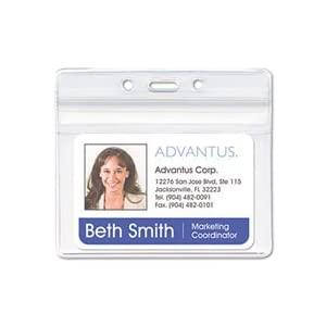 Advantus 75523 Resealable badge holder, 2-5/8 x 3-3/4, horizontal, prepunched, 50 per box