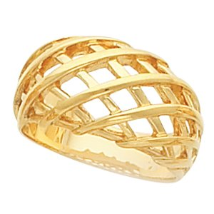 14K Yellow Gold Latticework Dome Ring:11mm Size: 13