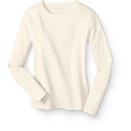 Eddie Bauer Favorite Long-Sleeve Crewneck T-Shirt, Ivory L Tall